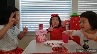 세 언니들 빨강 빨간색 빨강스름한 과일 캔디 먹기