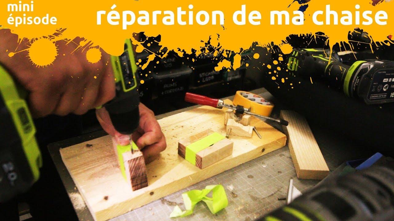 Réparation de ma chaise de bureau avec des morceaux de bois de