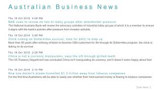 Business News Headlines for 18 Oct 2018 - 6 PM Edition
