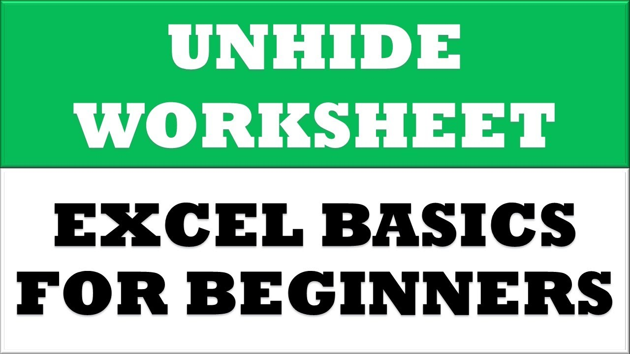 How to UnHide worksheet in MS Excel 2016 YouTube – Unhide Worksheet
