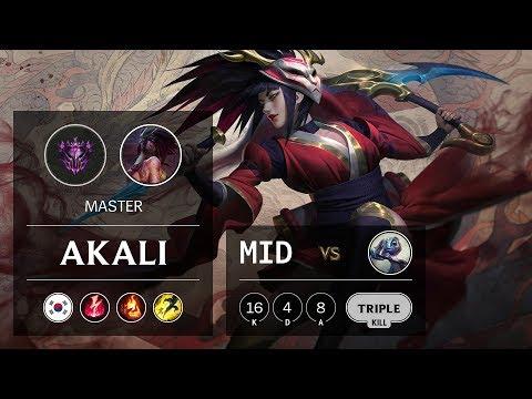 Akali Mid vs Fizz - KR Master Patch 9.8
