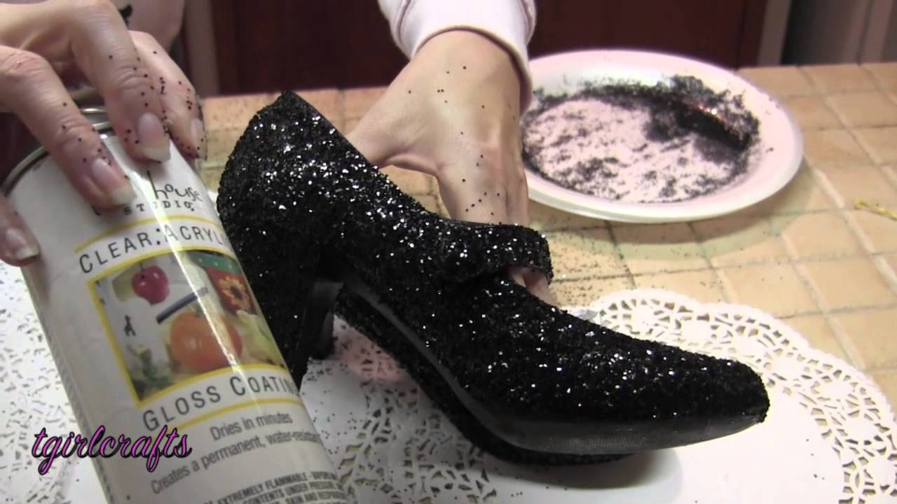 How To Upcycle Old Shoes Glitter High Heel Pinterest Fashion Gliter Heels Project Youtube