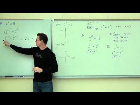 Intermediate Algebra Lecture 12.3:  Graphing and Solving Exponential Functions