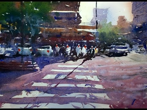 Watercolour demonstration by Tim Wilmot - Urban scene with p