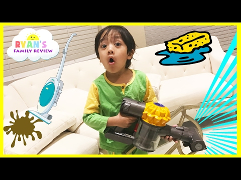 Thumbnail: Kids Chores Cleaning Routine! Toys Clean Up Sweeping Washing Dishes Ryan's Family Review Vlog