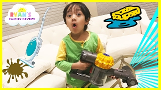 Kids Chores Cleaning Routine! Toys Clean Up Sweeping Washing Dishes Ryan