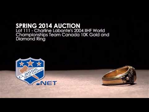 Charline Labonte's 2004 IIHF World Championships Team Canada 10K Gold and Diamond Ring