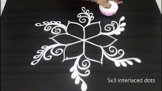 Chukkala muggulu with 5 dots || Simple beginners rangoli & kolam designs
