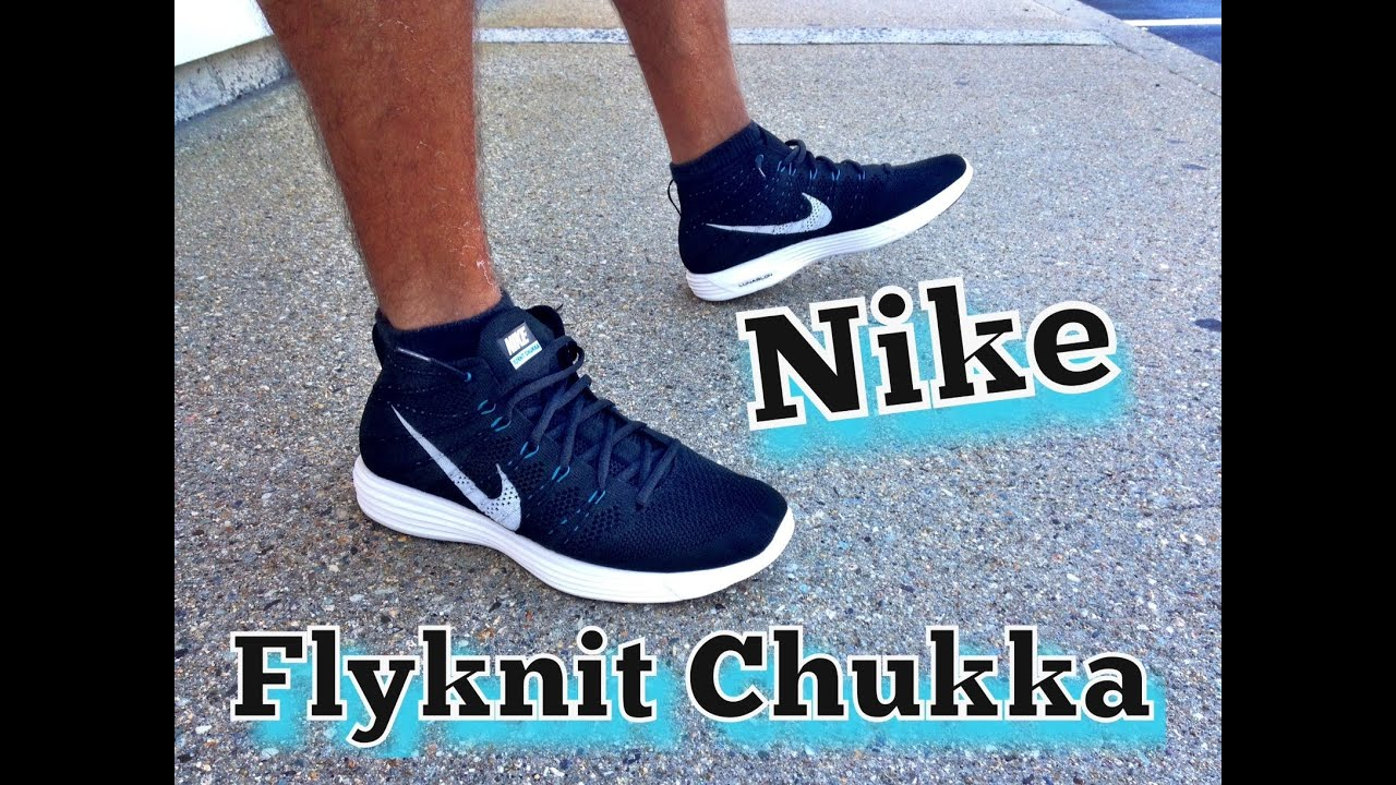 62142136eb9ab Nike Lunar Flyknit Chukka Black Neo-Turquoise Review   On Feet - YouTube