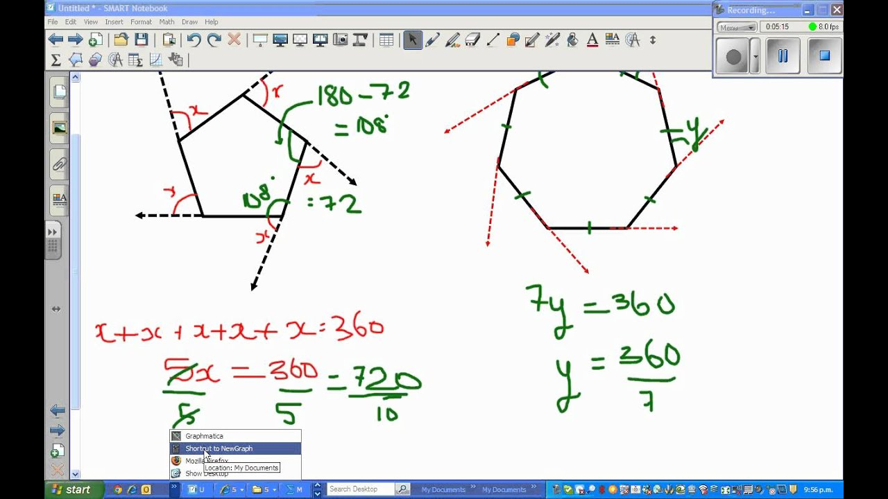 Sum of exterior angles of a polygon part 2 youtube - Sum of the exterior angles of a polygon ...