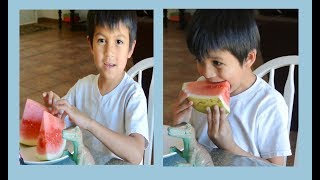 Kid eating fresh watermelon | delicious fruit  | fruit snack for kids | healthy snack