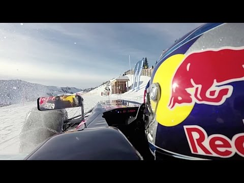 Max Verstappen drives an F1 car on snow