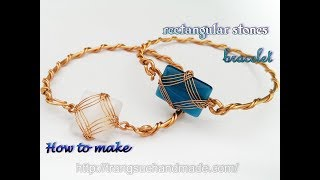 Wire bracelet with square and rectangular stones without holes 384