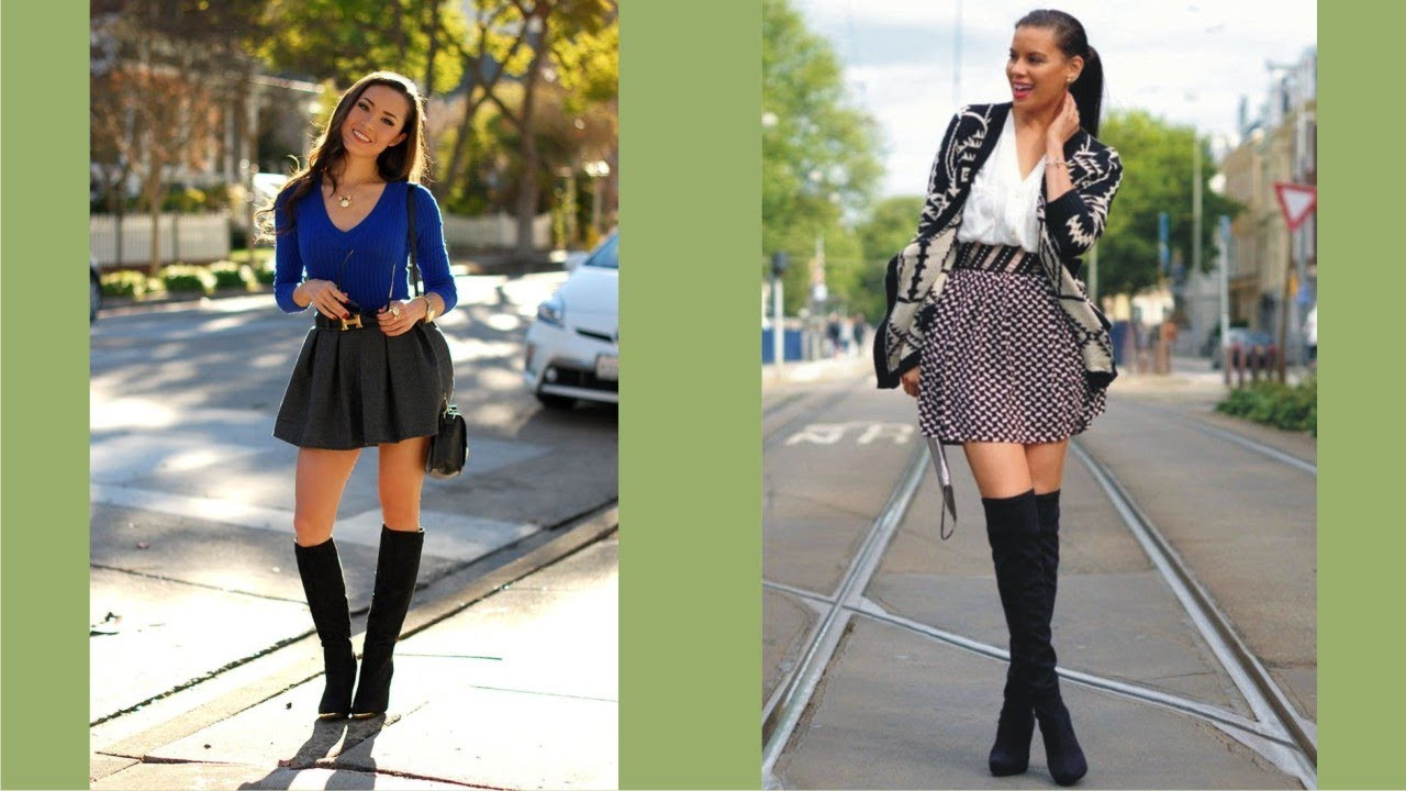 Pretty Mini Skirts And Boots
