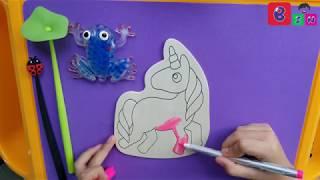 Dạy bé tô màu tranh gỗ ngựa Pony - Colored wood painting Pony horse