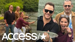 'Jurassic World's' Chris Pratt & Jeff Goldblum Take Natalie Morales On A Barracuda-Fishing Adventure
