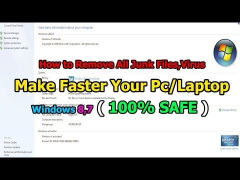 How To Remove All Junk Files Virus Make Faster Your Pc Laptop Windows Safe