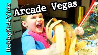 Excalibur Las Vegas Arcade Tickets + Prize Toys! Family Fun Vlog by HobbyKidsVids