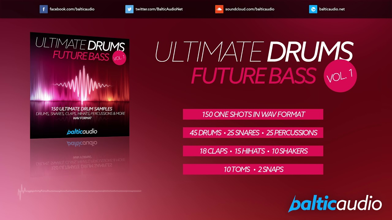 Ultimate Drums Vol 1: Future Bass (150 Drum Samples, WAV Format)