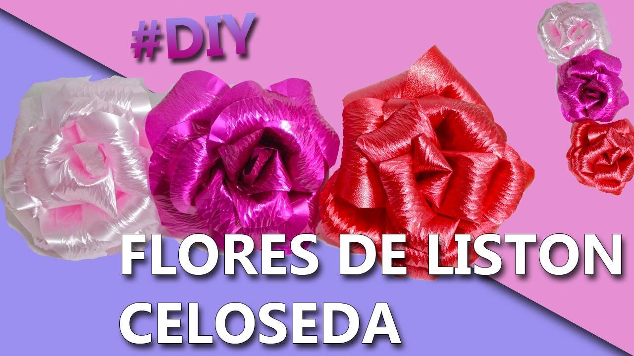 Como hacer flores con liston celoseda manualidades como - Como hacer flores ...