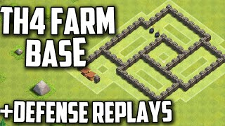 Clash Of Clans: TH4 FARMING Base Layout With Defense Replays