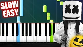 Marshmello ft. Bastille - Happier - SLOW EASY Piano Tutorial by PlutaX
