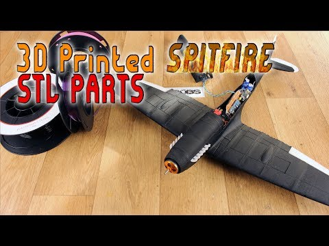 3D printed Spitfire RC plane body - FREE STL parts - YouTube