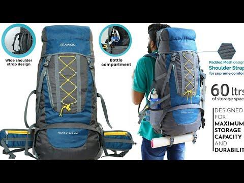 TRAWOC 60 Ltr Trekking Rucksack Travel Bag Hiking Backpack, English blue (1 Year Warranty) Unboxing
