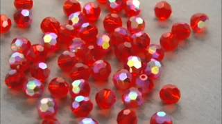 8mm round faceted ruby red ab crystal glass strand 45 loose beads