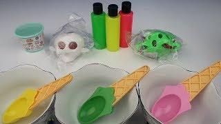 Uzaylı Kurbağa ve Kurukafa Squishy ile 3 Renk Neon Slime Challenge Skuşi vs Slime Bidünya Oyuncak