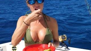 GIRL Catches Wahoo then Eats it RAW on the boat