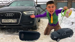 Mr. Joe found Toy Car & Magic Water w/ Watered Toy & he Grew in Big Car Audi Q3 for Kids