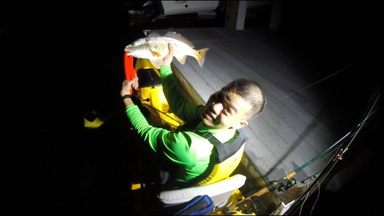 Night kayak fishing galveston tx for redfish youtube for Galveston fishing report seawolf park