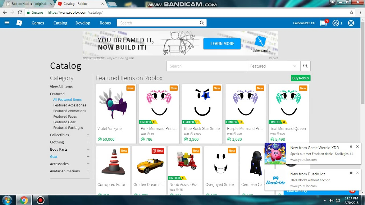 Roblox Robux Hack 2018 Free Catalog Items Youtube