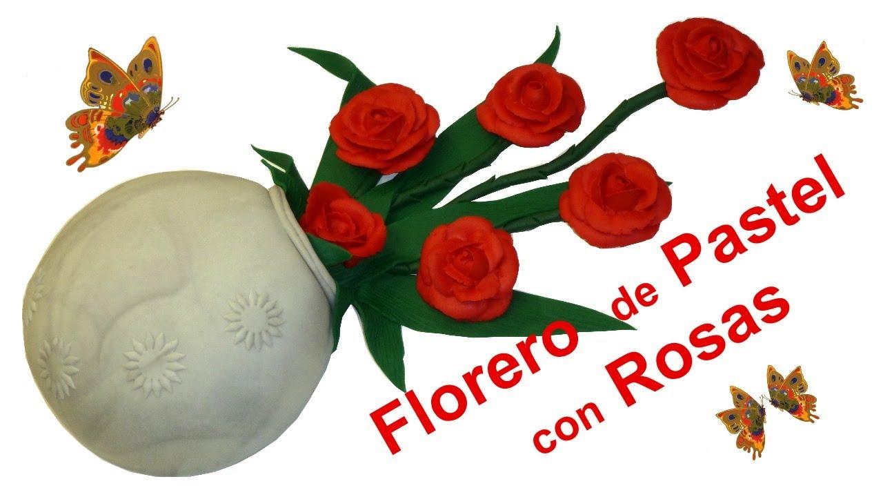 Florero de Pastel con Rosas  de Azúcar - Dia de Madre, Cumpleaños y toda ocasión│Club de Reposteria
