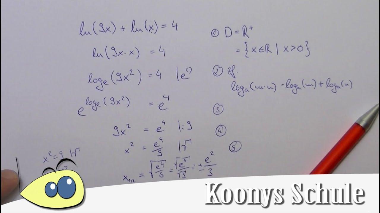 Die 5 Schritte bei Logarithmengleichungen, Gleichungen mit ...