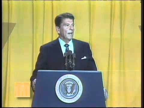 Ronald Reagan speaking at the 1981 NAACP Convention