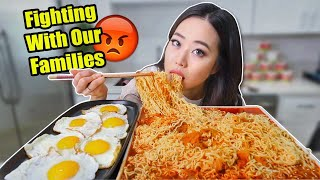 SPICY KIMCHI RAMEN NOODLES + FRIED EGGS MUKBANG | Eating Show