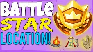 Fortnite BATTLE STAR LOCATION week 6 Search between a Playground, Campsite, and a Footprint