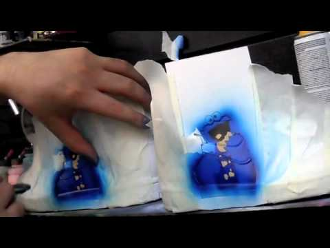 Airbrushing Cookie Monster On some SHOES! ( Stencil Tactics )
