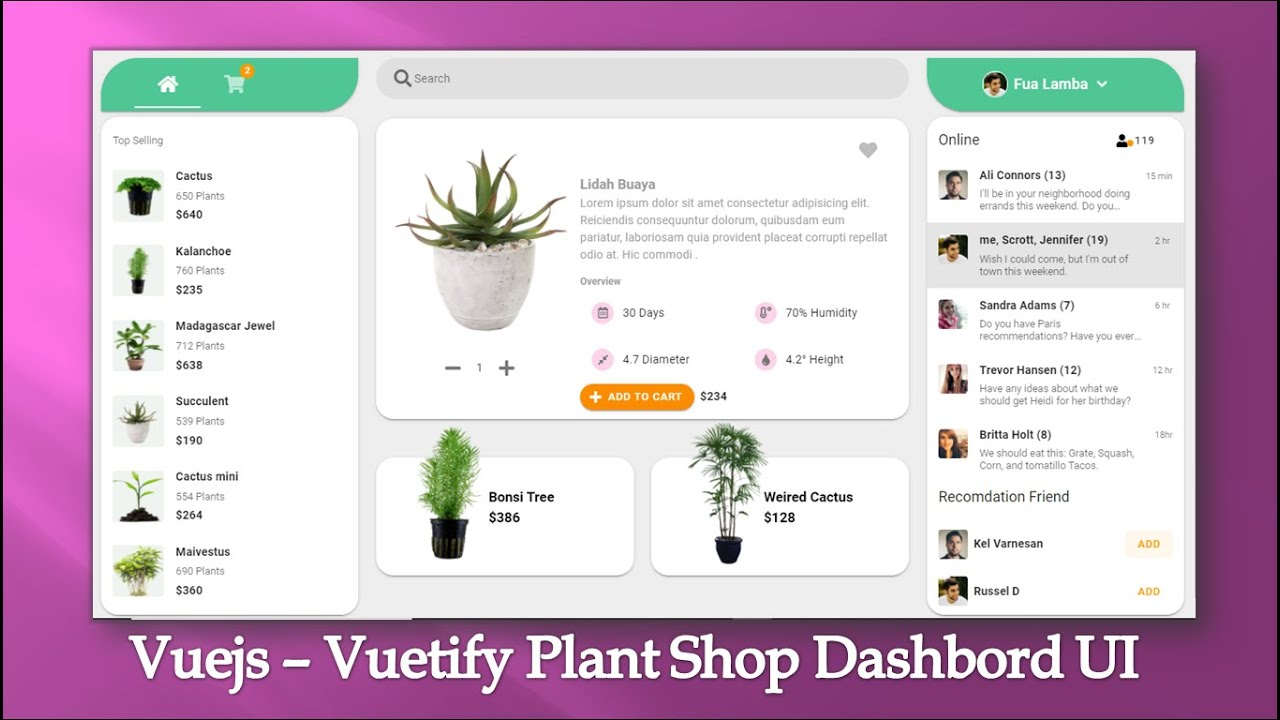 Vuejs - Vuetify UI Design, Plant Shop Dashboard