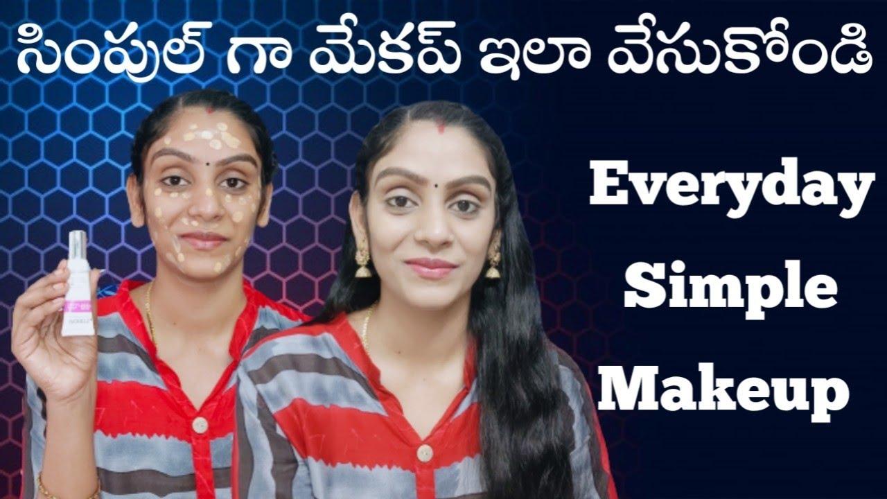 Download Simple Everyday Makeup 😍 For Begginers😍 in Telugu    Office, College Makeup in Telugu 🙂    Geeta ❤️