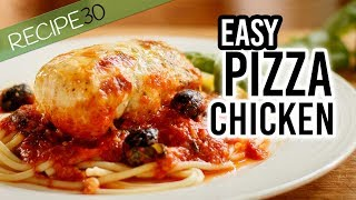 Pizza Chicken or Chicken Pizzaiola with Cheese and Fresh Basil