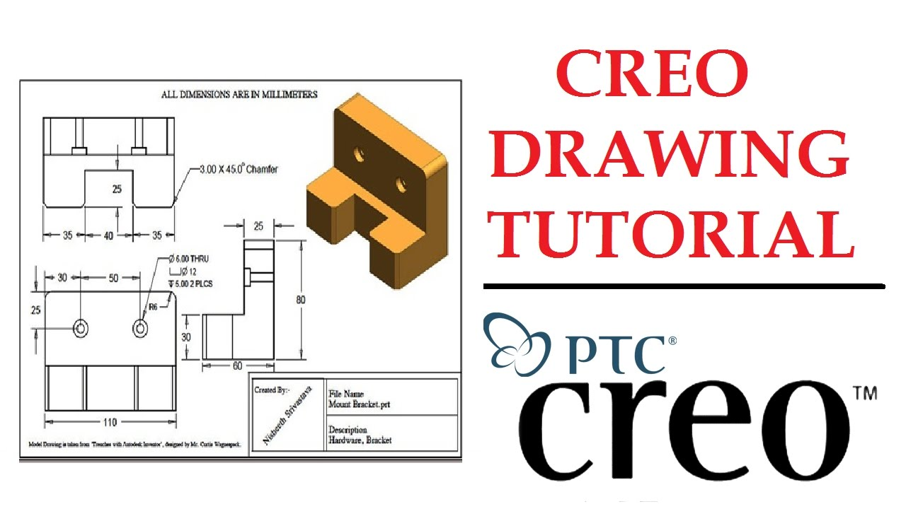 Creo Drawing Tutorial Creo Beginner Tutorial Youtube