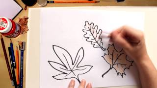 How to draw autumn leaves - drawing with kids