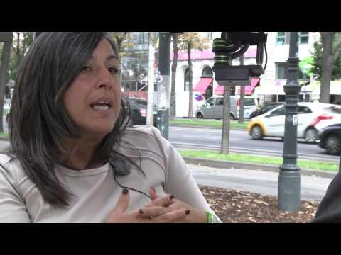 Maria Vassilakou am TV-Radl der Wiener Zeitung