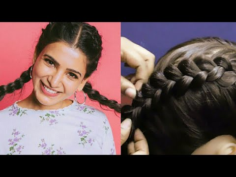 Samantha Hair Style Girl for Medium Hair/Long Hair | Hairstyle for School, College | Hairstyles 2019 thumbnail