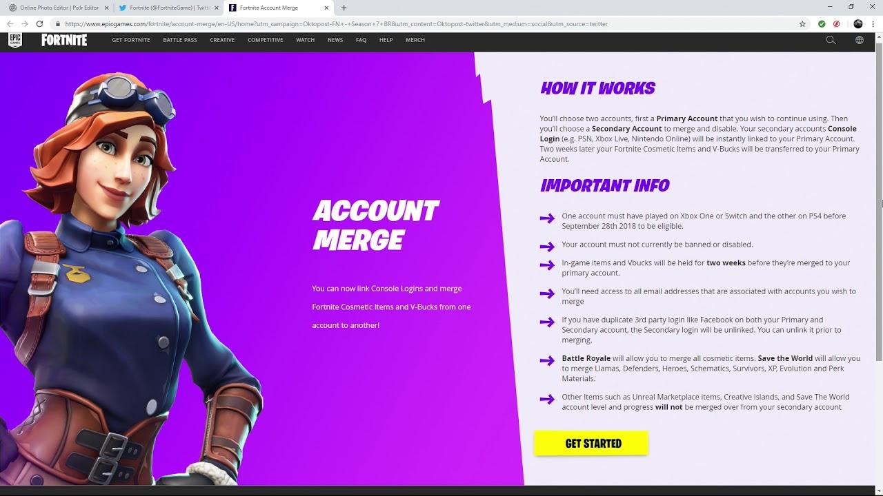 how to merge fortnite accounts xbox ps4 pc mobile switch - how to switch fortnite accounts on pc
