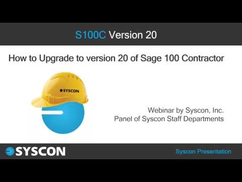 How to Upgrade to v20 of Sage 100 Contractor