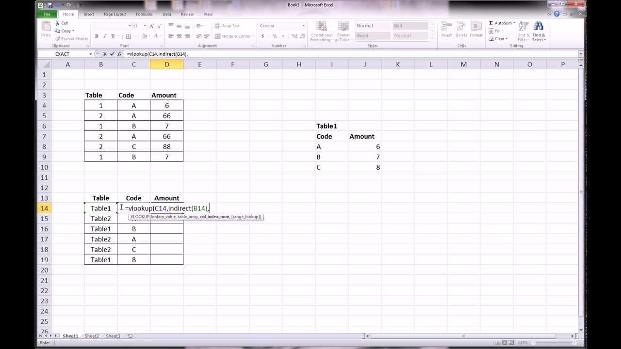 excel vlookup multiple sheets indirect excel indirect